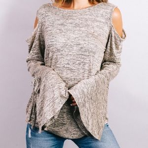 Tops - Long Sleeve Bell Sleeve Cold Shoulder Top XS S M L